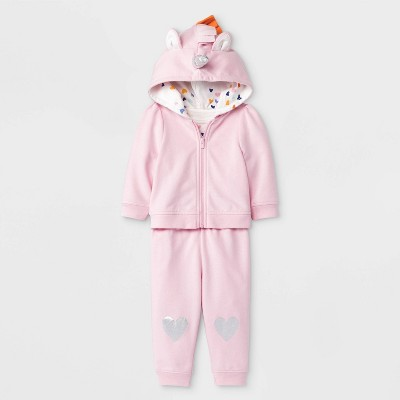 Baby Girls' Unicorn 3pc Heart Bodysuit, Unicorn Hoodie, Heart Knee Jogger Set - Cat & Jack™ Pink/White 3-6M