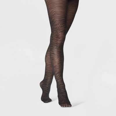 Women's Zebra Mesh Tights - A New Day™ Black