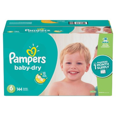 Pampers Baby Dry Disposable Diapers One Month Supply - Size 6 (144ct)