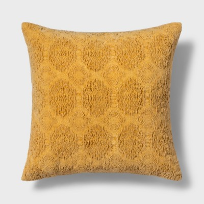 Washed Chenille Square Throw Pillow Yellow - Threshold™