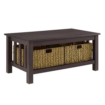 40  Wood Storage Coffee Table with Totes - Espresso - Saracina Home