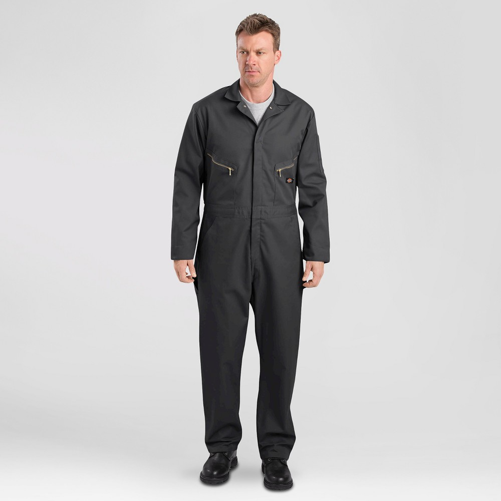 Dickies Men's Big & Tall Deluxe Long Sleeve Blended Twill Coverall- Black L Tall, Size: LT