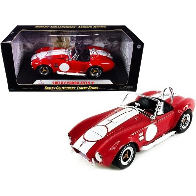 1965 Shelby Cobra 427 S/C Red w/White Stripes w/Printed Carroll Shelby's Signature on the Trunk 1/18 Diecast Shelby Collectibles