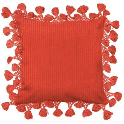 Square Solid Pillow with Fringe Orange - Opalhouse™