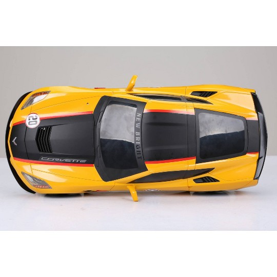 New Bright R/C Showcase Sportscar Racing Corvette C7 Yellow 9 .6v 1:8 Scale image number null