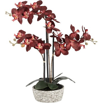 """Studio 55D Red Orchid 24"""" High Faux Flower in Gray Pot"""