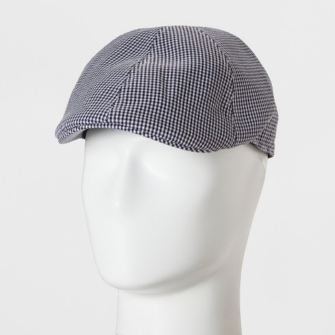 Men's Gingham Ivy Check Driving Cap - Goodfellow & Co™ Navy One Size - image 1 of 2