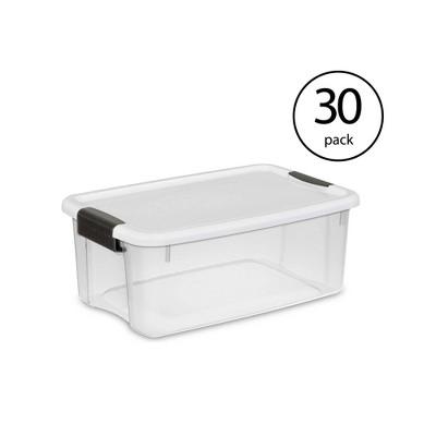 Sterilite 18 Quart Clear Ultra Latch Storage Organizer Container Box  (30 Pack)