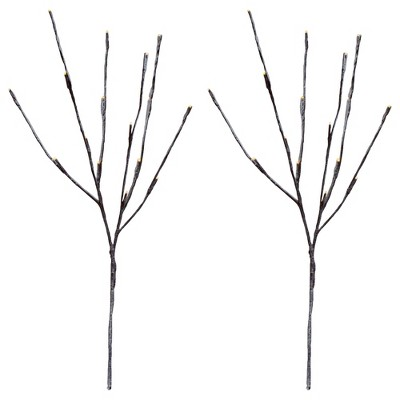 """Northlight Set of 2 Brown LED Battery Operated Snow Branches 28"""""""