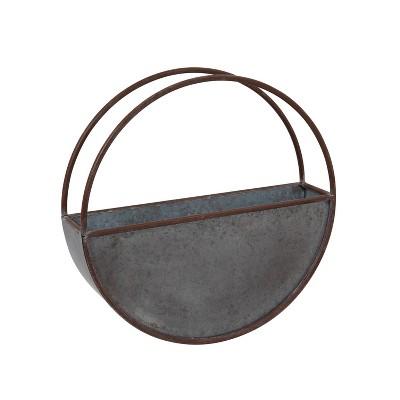 Gerson International 18-Inch Diameter Galvanized Metal Circular Wall Planter, Silver