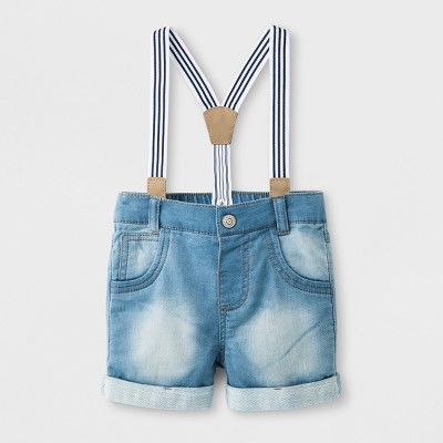 Baby Boys' Knit Denim Shorts with Suspenders - Cat & Jack™ Light Wash 3-6M