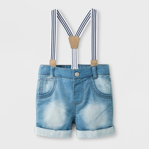 Baby Boys' Denim Shorts with Suspenders - Cat & Jack™ Light Wash - image 1 of 2