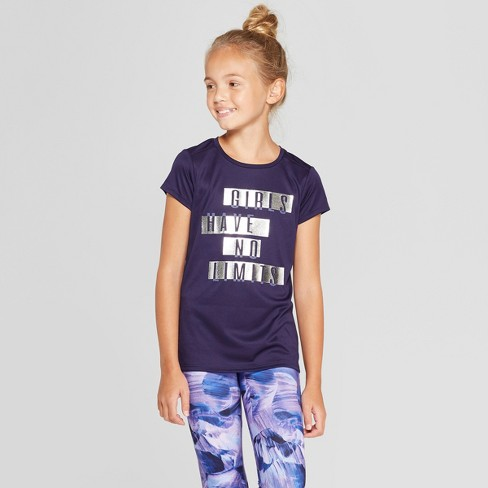 Girls' Have No Limits Graphic Tech T-Shirt - C9 Champion® Navy Blue - image 1 of 3