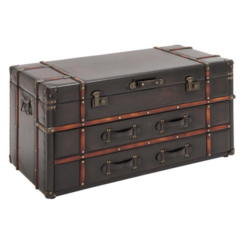 Wood Storage Trunk Coffee Table.Wood And Leather Trunk Coffee Table Brown Olivia May