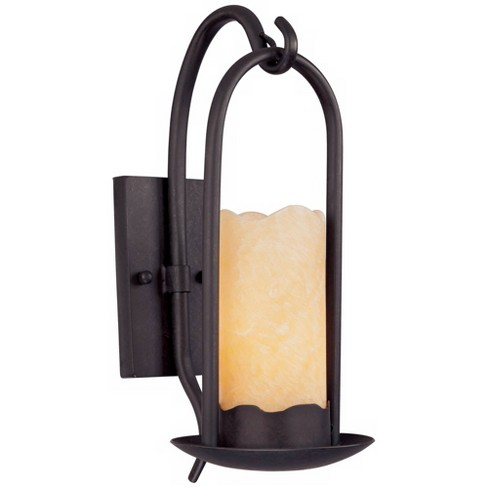 """Franklin Iron Works Rustic Cottage Wall Light Sconce Rich Onyx Hardwired 14 1/2"""" High Fixture Faux Candle Bedroom Bathroom Hallway - image 1 of 4"""
