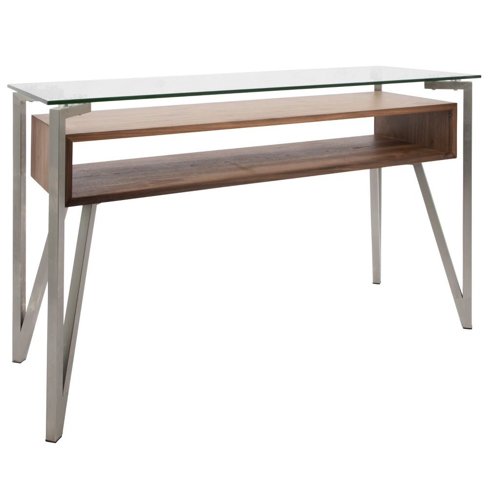 Hover Mid Century Modern Console Table Walnut (Brown) - LumiSource