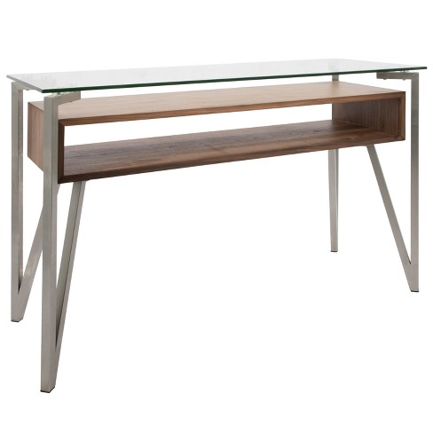 Hover Mid Century Modern Console Table Walnut Lumisource Target