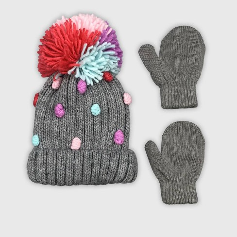 Toddler Girls' Hat And Glove Set - Cat & Jack™ Grey 2T-5T - image 1 of 2