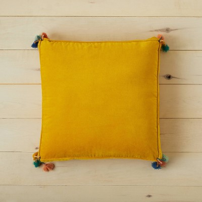 Oversized Solid Velvet Square Floor Pillow with Tassels Gold - Opalhouse™ designed with Jungalow™