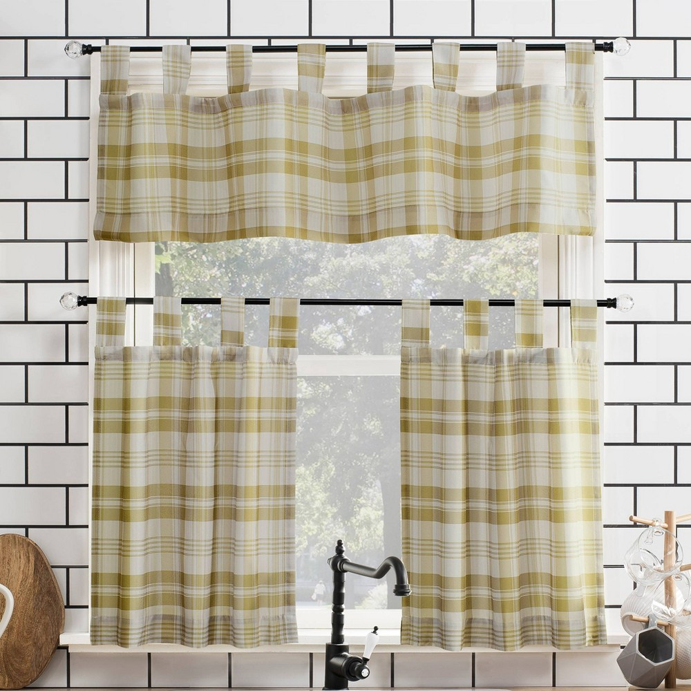 "Image of ""24""""x52"""" Blair Farmhouse Plaid Semi-Sheer Tab Top Kitchen Curtain Valance and Tiers Set Gold/Black - No. 918"""