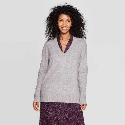 Women's Long Sleeve V-Neck Pullover Sweater - A New Day™ - image 1 of 3