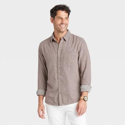Men's Standard Fit Double Weave Long Sleeve Button-Down Shirt - Goodfellow & Co™