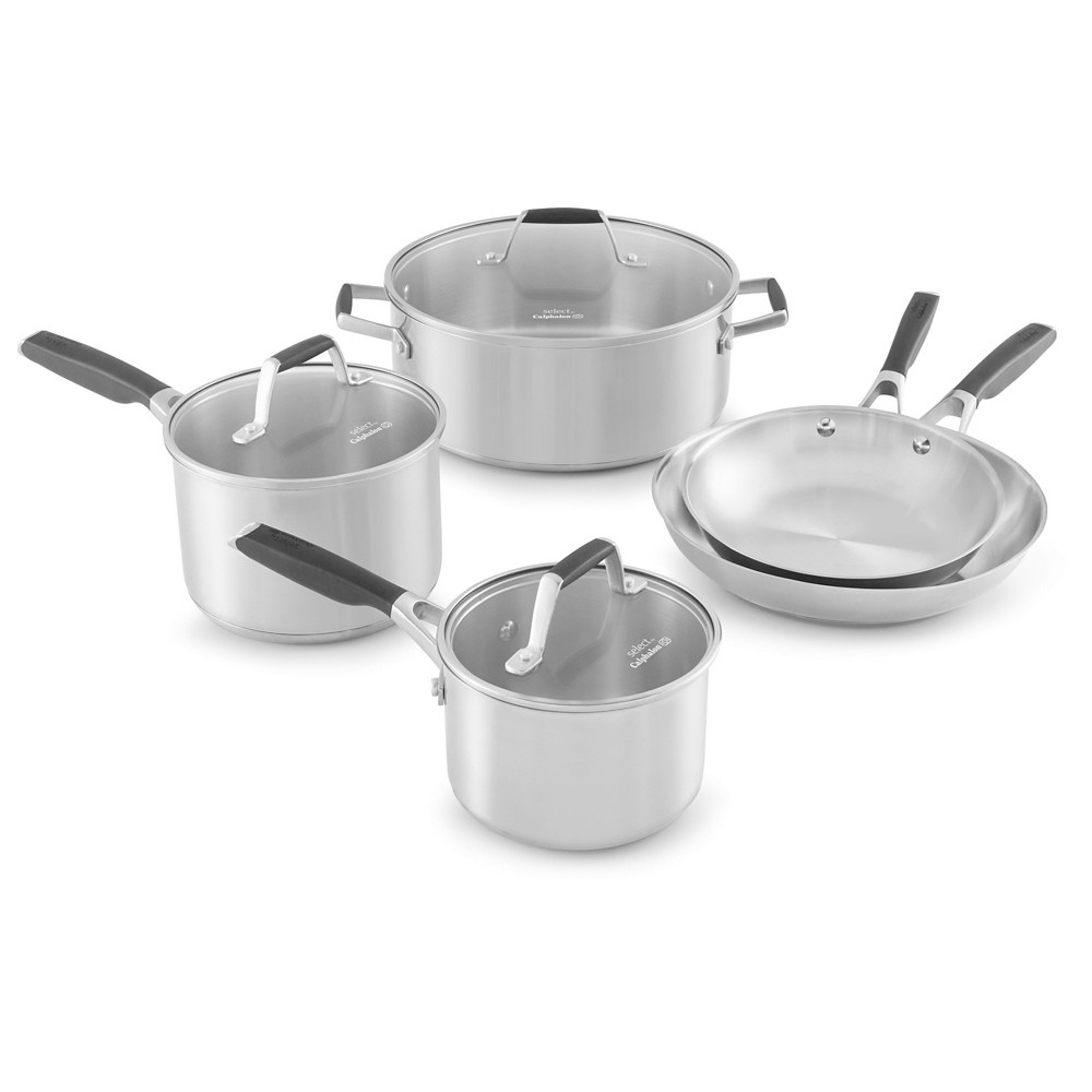 Select by Calphalon 8pc Stainless Steel Cookware Set, Black