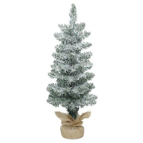 2ft Unlit Frosted Pole Pine Artificial Christmas Tree in Burlap Base - image 1 of 1