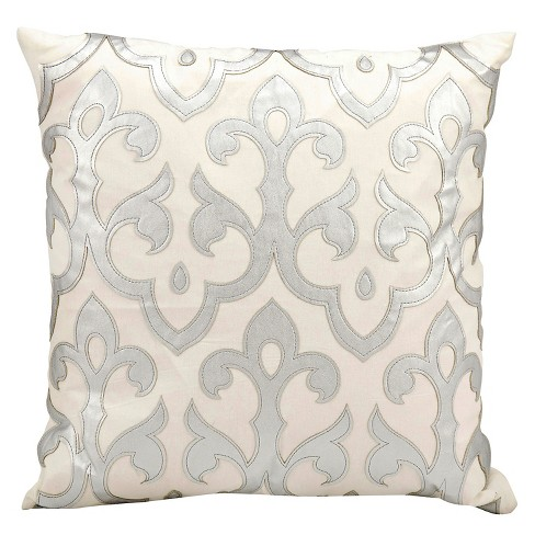 "Silver Leather Applique Throw Pillow (20""x20"") Nourison - image 1 of 1"