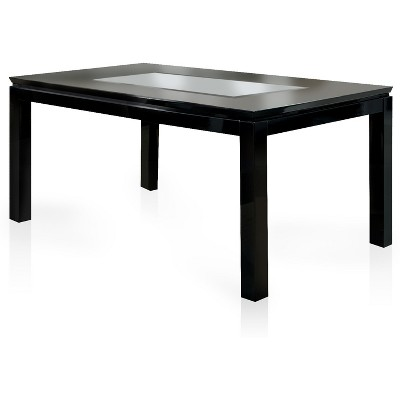 IoHomes Glass Insert Table Top Dining Table Wood/Black