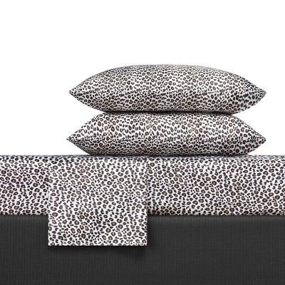Leopard Print Satin Sheet Set Charcoal - Betseyville