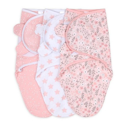 The Peanutshell Swaddle Wrap - Pink Floral Stars - S/M 3pk