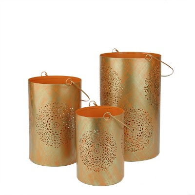 """Northlight Set of 3 Orange and Gold Decorative Floral Cut-Out Pillar Candle Lanterns 10"""""""
