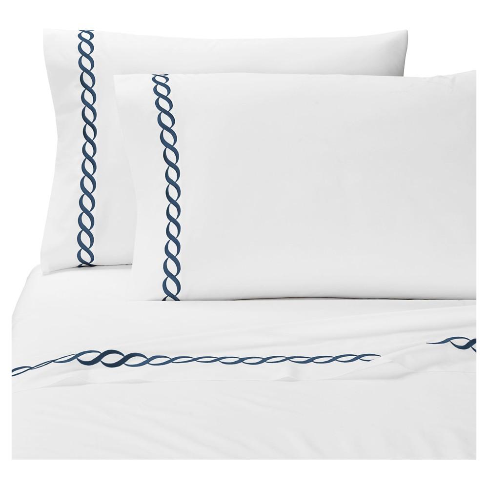 Compare Queen 2pk Cable Solid Pillowcase Set Navy - Cassadecor