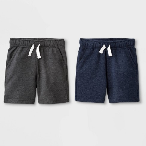 Toddler Boys' 2pk French Terry Play Pull-On Shorts - Cat & Jack™ Charcoal/Navy - image 1 of 1