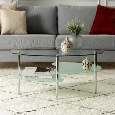 Glass Oval Living Room Metal Coffee Table - Saracina Home : Target