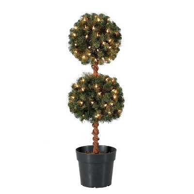Home Heritage 3 Foot Artificial Topiary Tree w/ Clear Lights for Entryway Decor