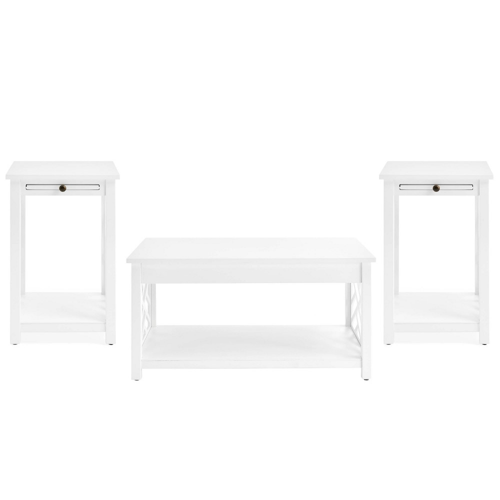 36 34 Middlebury Coffee Table And 2 End Tables With Tray Shelf White Alaterre Furniture