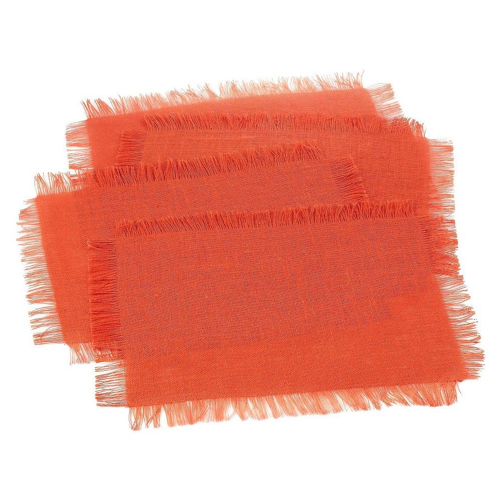 Fringed Jute Placemats Tangerine Set Of 4