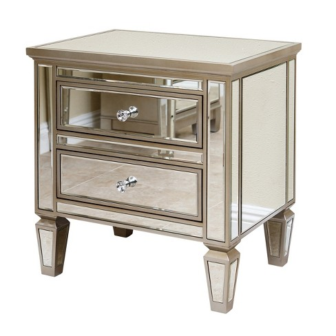 Ofelia Mirrored 2-Drawer Nightstand Silver - Abbyson Living - image 1 of 4