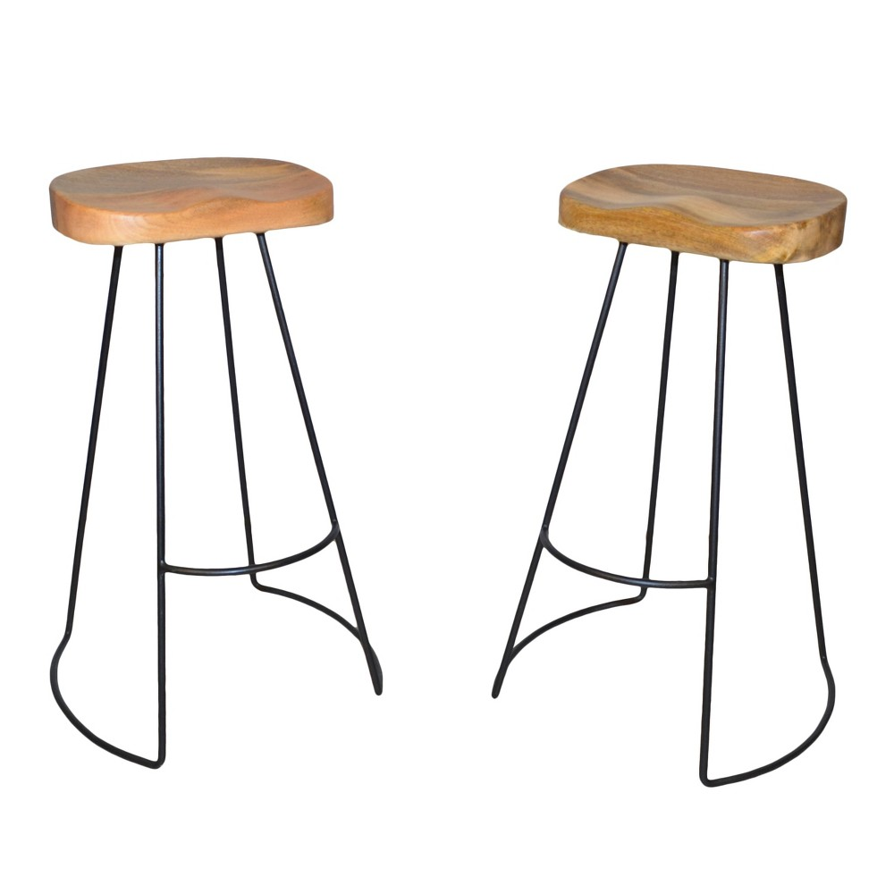 30 Vale Bar Stool (Set of 2) - Natural/Black - Carolina Chair and Table