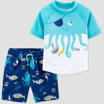 Baby Boys' Octopus Swim Rash Guard Set - Just One You® made by carter's Blue 6M