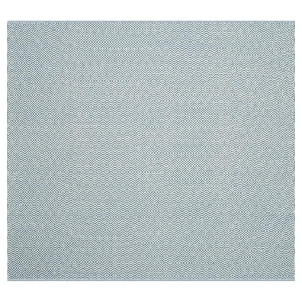 Ivory/Light Blue Stripe Flatweave Woven Square Area Rug - (6'X6') - Safavieh
