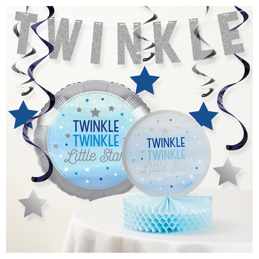 Image of One Little Star Boy Birthday Party Decorations Kit