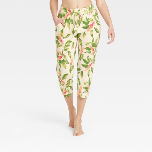 Women's Floral Print Beautifully Soft Cropped Pajama Pants - Stars Above™ Cream - image 1 of 3