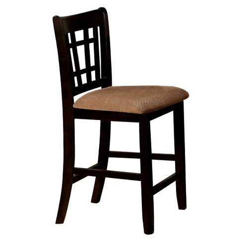 Mibasics Open Gridded Back Counter Side Chair Wood