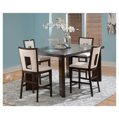 5 Piece Broward Counter Height Dining Table Set Wood White Brown Steve Silver Company Target