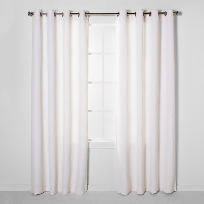 84 x50  Luster Basket Light Filtering Weave Curtain Panels Cream - Project 62™