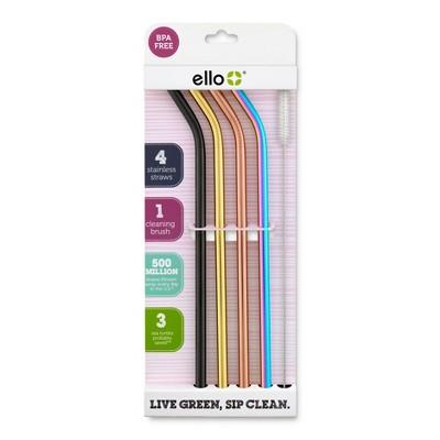 Ello 4pk Stainless Steel Straws