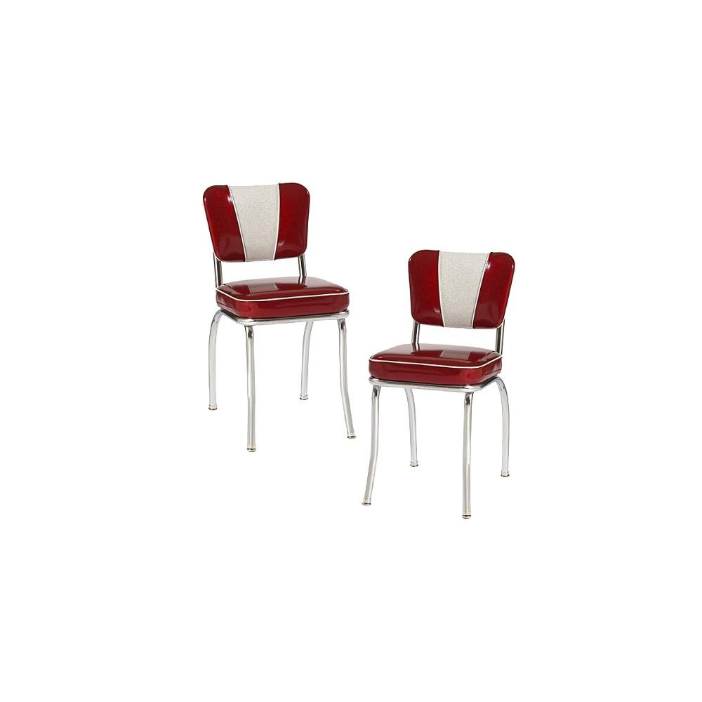 V-Back Diner Chair - Red (Set of 2)